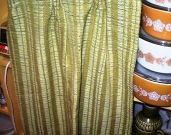 Vintage Avocado Green Sears Perma-Prest Pinch-Pleat Cafe Curtain Panel