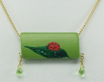 Ladybug on a Leaf Necklace, Hand Painted Pendant, Good Luck Charm, Wood