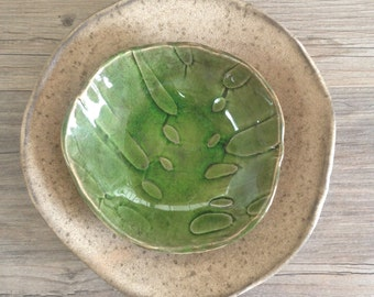 Green ceramic bowl with Cappuccino Salad plate - set of 2 - dinnerware handmade tableware by Chrisitane Barbato