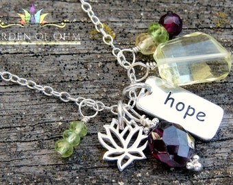 gemstone and hope charm necklace, yoga hope necklace, sterling silver charm necklace, lotus charm, citrine, peridot, garnet