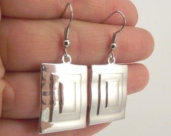 Shiny Silver Rectangle Earrings, Rectangular Silver Earrings, Geometric Earrings