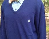 Vintage Izod Lacoste Men's V Neck Navy Sweater XL 1980s