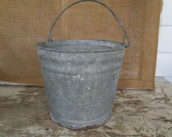Galvanized Bucket,Galvanized Pail,Farm,Country,Rustic,Prairie,Barn Decor,Barn Wedding,Animal Feed,Dairy Farm,Industrial Pail,Prop,Garden