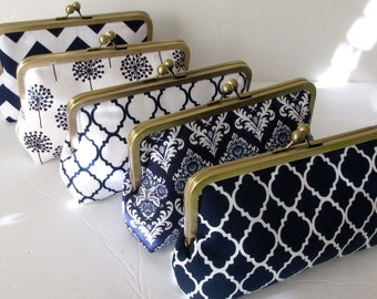 Bridesmaid Clutch, Personalized Clutch,  Navy and White Clutch Purse.