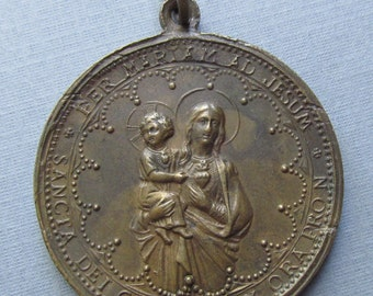 Virgin Mary Jesus With Sacred Hearts Madonna Religious Medal Pendant  SS405