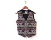 BTS SALE Vintage 80s Southwestern Beaded Tribal Tapestry Vest xs s