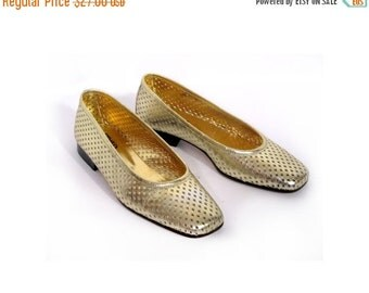 BTS SALE 80s MIDAS Gold Perforated Italian Leather Pixie Flats 7 7.5