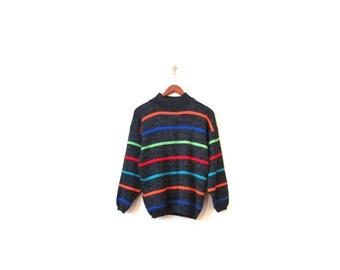 BTS SALE Vintage 80s Unisex Rainbow Stripe Knit COSBY Kids Sweater