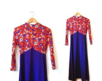 BTS SALE Vintage 60s MOD Floral Print Purple and Orange Maxi Dress s m boho hippie retro indie costume halloween