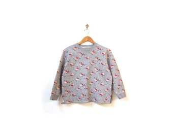 BTS SALE Vintage 90s Gray Floral Polka Dot Grunge Cotton Jersey Sweater women s m l vestiesteam preppy indie hipster