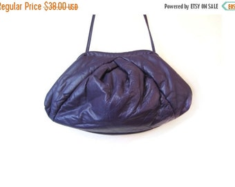 BTS SALE Vintage 80s Purple Leather Cross Braid Puffy Clutch Shoulder Purse