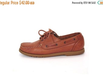 BTS SALE Vintage 80s Caramel Brown Leather Lace Up Nautical Loafers women 7.5