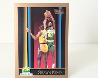 Vintage Shawn Kemp Basketball Card, Seattle SuperSonics Gift, NBA Gift for Men, Basketball Gift for Dad, 1990 Skybox Rookie Card, Reign Man