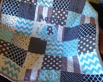 Baby Quilt Boy - Navy Gray Aqua Giraffe - Modern Baby Quilt - Navy Gray Baby Blue -  Elephant Boy Quilt - Made To Order - Modern Patchwork