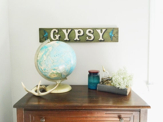Rustic - Gypsy or Custom NAME - Hand Painted Wood Decor Sign - Boho - Cottage - Teen Room - Beach