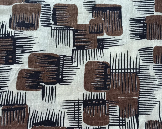 Featured listing image: 40s Chocolate Abstract Squares//Black Graphic Minimalist Lines//Eames Era//Apparel//Vintage Geometric Mix//All cotton//BTY