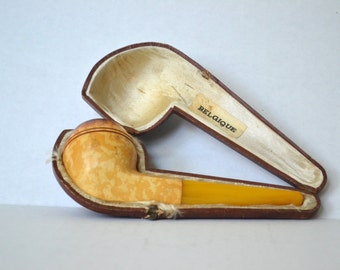 RESERVED for Thomas Aasen Rare Vintage Belgique pipe- used bowl, unused butterscotch stem with case