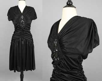 vintage 80s Draped Dress / 1980s Sexy Ruched Beaded Sequinned Open Back Witch Goth Party Dress / Extra Small XS