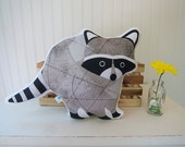 Raccoon Pillow Plush Soft Toy Woodland Nursery Decor Ready to Ship