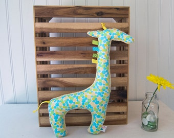 Stuffed Giraffe Plush Animal Blue Green Yellow Nursery Decor Ready to Ship