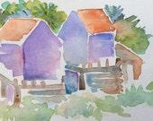Watercolor beach scene original
