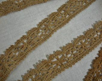 Vintage Tan Bobbin Lace - 1.5 yards