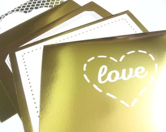 Metallic mixed pattern blank cards with envelopes - GOLD or SILVER- set of 10 - Thank You/Invites/Thinking of you/All Occasion note cards
