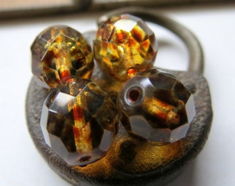 NEW . EARTHY GLOW . Czech Fire Polished Picasso Glass beads (10 beads) 12  mm