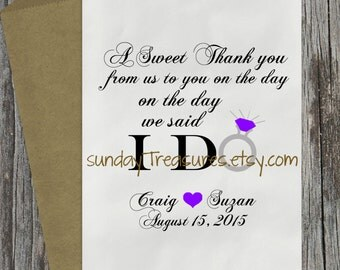 12Pc WEDDING Favor Bags / A Sweet Thank You from us to You on the day We said I Do / Cookie Candy Buffet Gift Bag / PERSONaLized