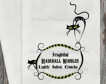 12 PAK Halloween Favor Bag / Gross  Frightful Hairball Nibbles Salted Crunchy / Black Cat / Candy Buffet Party Table Decor  / 3 Day Ship