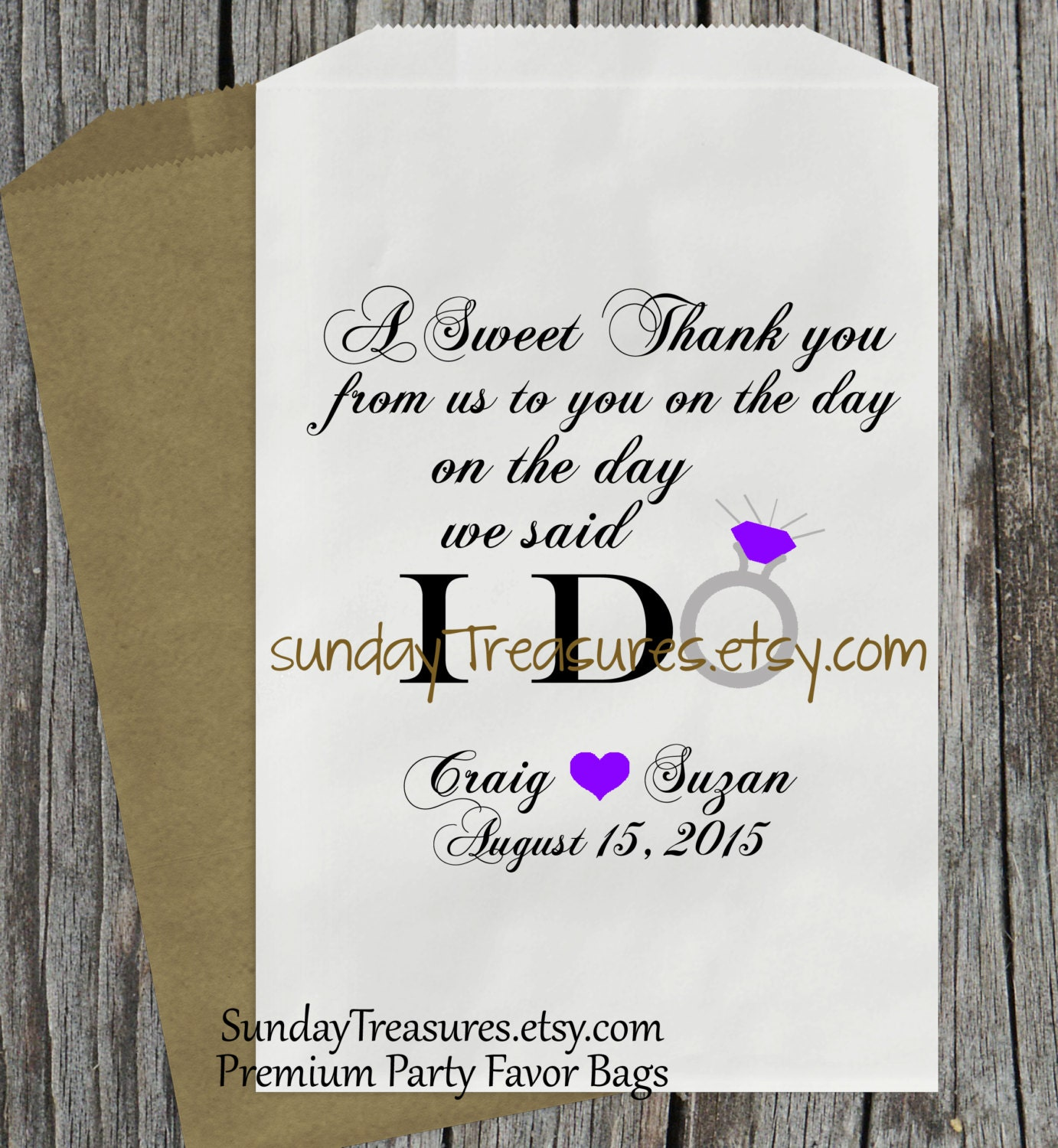 Thank You Wedding Gift Quotes : 12Pc WEDDING Favor Bags / A Sweet Thank You from us to You on