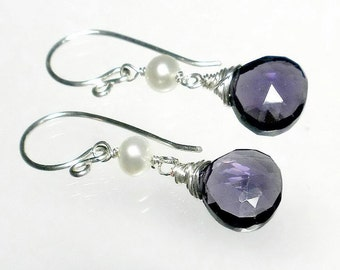 Amethyst Drop Earring, Purple Amethyst Earring, Purple Briolette Earring, Pearl and Purple Quartz Earring, February Birthstone