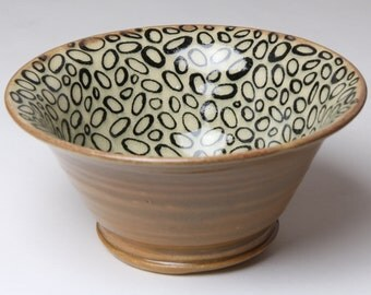 Small Pottery Bowl - Earth Tones - Hand Drawn Design