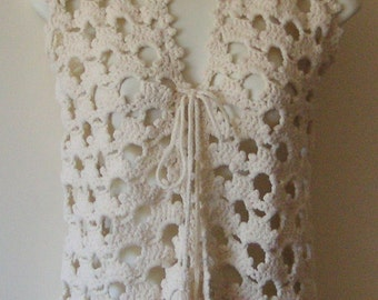 Ladies hand crochet vest in very good condition XS or small