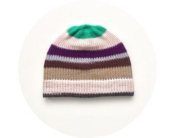 Men's knit hat, winter beanie, striped accessory