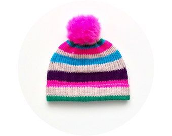 Pink pompom beanie hat, knitted winter accessory FREE SHIPPING