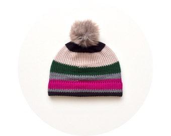 Pom pom hat, colourful striped beanie, winter ski knit bobble beanie FREE SHIPPING
