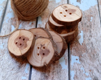 3 handcrafted wood buttons, Eco Friendly Craft Supply