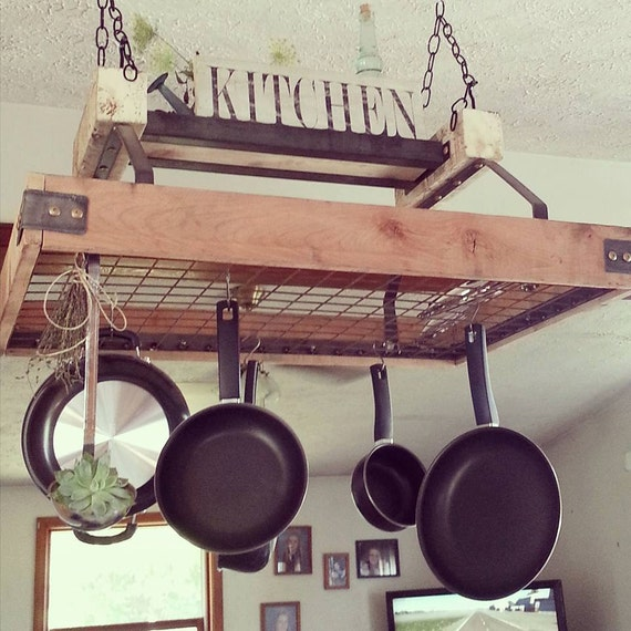 Unavailable listing on etsy for Reclaimed wood pot rack