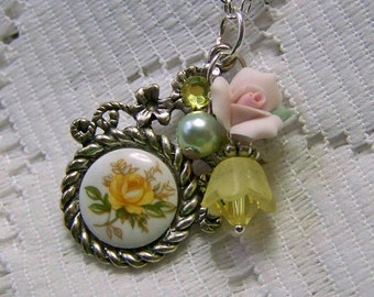 Vintage Yellow Rose Victorian Style Necklace, Yellow Rose Cameo Necklace, Yellow Rose of Texas, Porcelain flower, Swarovski crystal elements