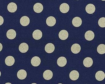Michael Miller - Quarter Dot Pearlized in Twinkle Navy / Bronze