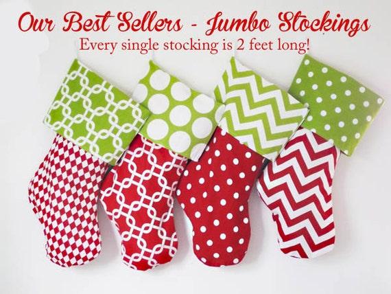 Christmas Stockings, Jumbo 2 foot, custom holiday stockings, christmas decorations, polka dots, chevrons, matching family stockings