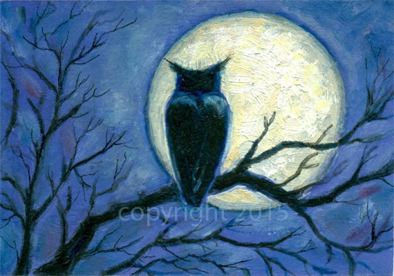 Items similar to Night Owl Acrylic Painting w/ ink ...