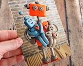 Robot Family Sculpture Art Postcard