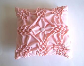 Pale peach  hand smocked  pillow.  Wedding Ring Bearer Pillow