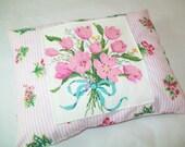 SALE - Handmade vintage embroidered pillow, pink, floral, decor