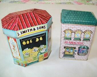 SALE - 2 Vintage Tins, candy tin, Jo Ann's Fabric tin, 1990s, storage