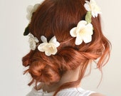 Bridal crown, ivory flower crown, wedding headpiece, circlet, hair wreath, bridal crown, wedding hair accessory - Adaline