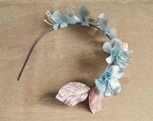 Blue flower crown, floral crown, flower girl headband, fairy crown, wedding hair accessory - Fairylight