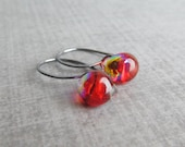 Small Red Earrings, Fire Red Dangles, Red Lampwork Earrings, Small Dangle Earrings, Oxidized Small Earrings, Sterling Silver Earrings